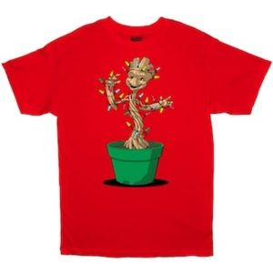 Marvel Baby Groot Christmas Lights Tee Red Large